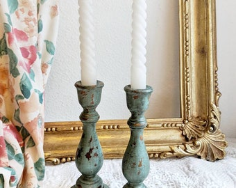 Rustic Wood Candlestick Holders In Antiqued Blue Pair Of Distressed Candleholders Hand Painted Primitive