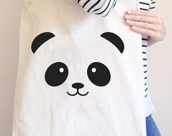 Panda Tote, Panda, Panda gift bag, panda lover, panda t shirt, birthday gift, christmas gift, animal lover, christmas present
