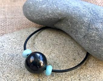 Large Shungite Bead Bracelet w/Amazonite