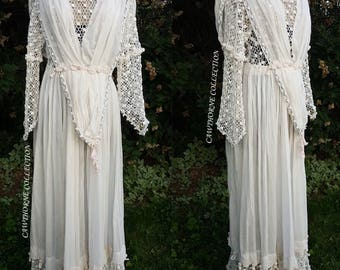 Edwardian Pink Blue Crochet Tassels Organdy Dress Vintage Antique 1910s Repairs