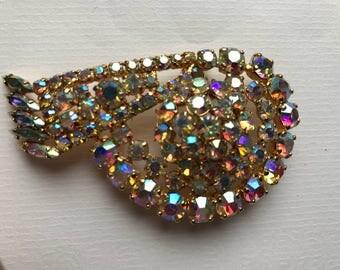 Vintage Modernist Style Aurora Borealis Rhinestones Brooch in Gold Tone Metal/1960 era/Diamante Brooch/Large Brooch/Unsigned