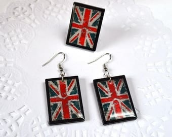 British flag jewelry sets union jack flag earrings vintage jewelry british party uk flag united kingdom patriotic jewelry red white and blue