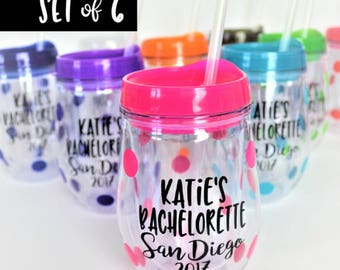 SET of 6 Bachelorette Party Tumblers // 10oz Wine Tumblers // Bachelorette Party Cups // Bachelorette Gift for Bride // Bachelorette Favors