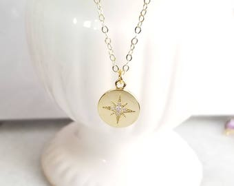 Star Necklace, North Star Gold Necklace, Cubic Star Necklace, arrow pendant, Polaris Necklace