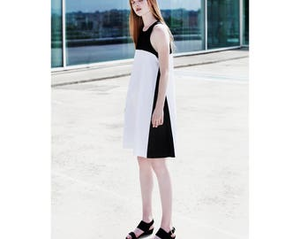 Black and white dress, color block dress, minimal summer dress