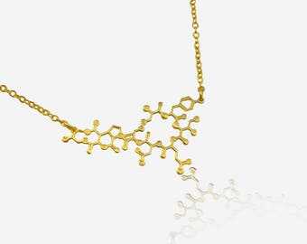 Dainty Oxytocin Molecule necklace chemistry jewelry  science jewelry gift for mom new mom necklace newborn mother gift minimalist necklace