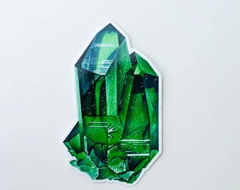Emerald Crystal Sticker, Vinyl Stickers, Laptop Stickers, mineral, crystal, journaling, science, geology minerals sticker)