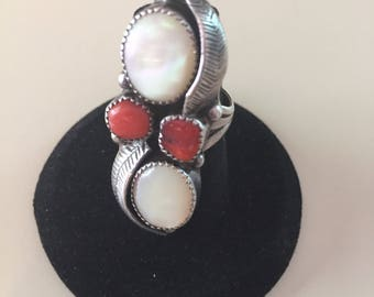 Vintage Native American Sterling Silver Coral & Mother of Pearl Ring Signed