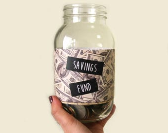Glass Savings Fund Money Jar   Unique Kids Gift   Savings Piggy Bank   Graduation Gift   Personalized Gift   Mason Jar   Coin Bank   For Her