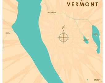 Lake Willoughby, VT Map Print