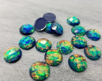 12mm dark blue multifaceted fire opal resin cabochons -10pcs