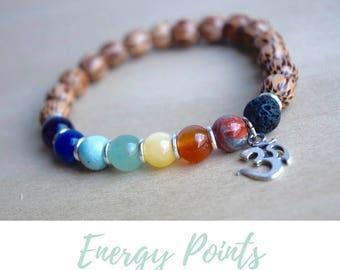 Balance Bracelet / 7 chakra yoga, calming bracelet, good vibes only, everyday bracelet, stone chakra jewelry, chakra bracelet, om bracelet
