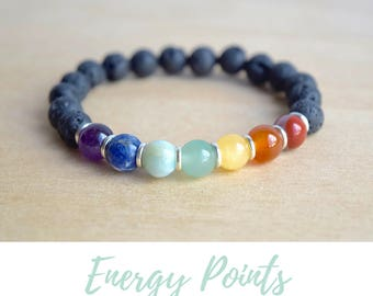 7 Chakras Bracelet / 7 chakras yoga, balance bracelet, beaded jewelry ideas, good vibes only, energy stone jewelry, chakra lava bracelet