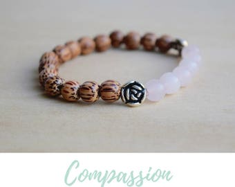 Rose Quartz Bracelet / yoga gift for mom, meditation bracelets, anxiety relief gift, spiritual mom gift, best yoga gifts, good vibes only
