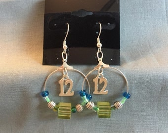 Seattle Seahawks Beaded Hoop 12th Man Earrings