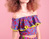 Leopard Print Lycra Festival Crop Top with Mexican Style Off the Shoulder Pom Pom Frill