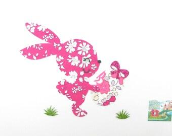 Appliqués thermocollants Lapin et oeuf de Pâques tissu liberty Capel fuchsia Betsy Bougainvillée flex pailleté patch à repasser écussons