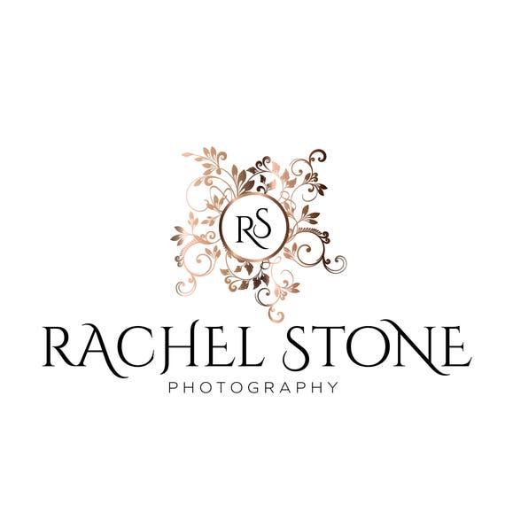 Anfangliche Dekorative Logo Pink Gold Rose Wasserzeichen Fur Fotografen Rotgold Branding Make Up Artist Hair Salon