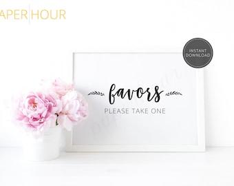 Printable Wedding Reception Sign | Favors please take one | Instant Download | 5x7 & 8x10 | DIY Printable/Digital File | z009