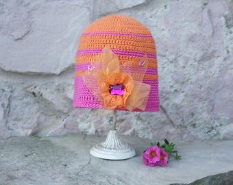 Crochet hat Girls beanie Toddler beanie Orange pink hat Striped hat Crochet flower hat Crochet baby hat Crochet toddler Beanie hat Lace hat