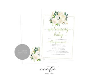 Elegant Baby Shower Invitation, White Floral Baby Shower Invite, Printable Baby Shower Invitation, White Green Baby Shower, Girl Baby Shower