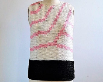 1960s Sweater | 60s Mod Sweater | Graphic Bold 60s Sweater | Raffia Handknit Sweater | End of Summer Sweater | NWOT 60s Top