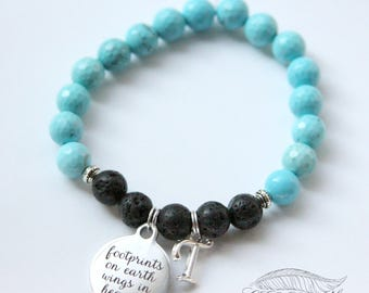 Custom Handmade Diffuser Bracelet, Turquoise, Memorial Bracelet, Diffuser Jewelry, Sympathy Gift, Bereavement Gift, Loss of Loved One