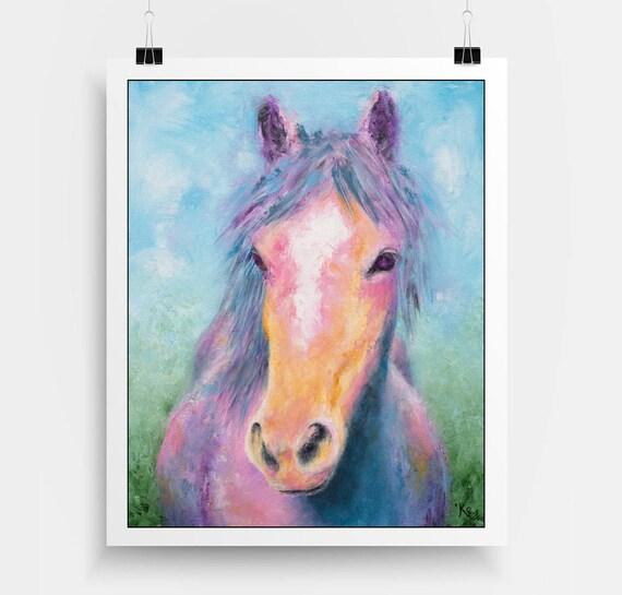 Horse Print - Horse Lover Gift, Horse Art, Rainbow Horse, Horse Decor Art, Horse Wall Art.