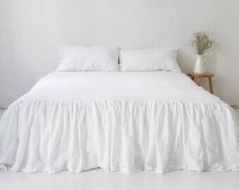 BED SKIRT. Dust ruffle made of 100% European linen. Linen Gathered Bedskirt. Linen coverlet by so linen!