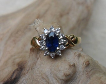 9ct Yellow and White Gold, Sapphire and Diamond Cluster Ring
