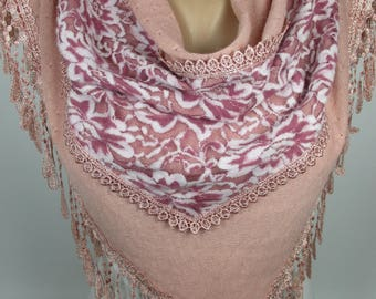 Pink Lace velvetScarfWedding Scarf Bridal Accessories Bridesmaids Gift Women Fashion Accessories Gift Ideas For Her Christmas Gifts