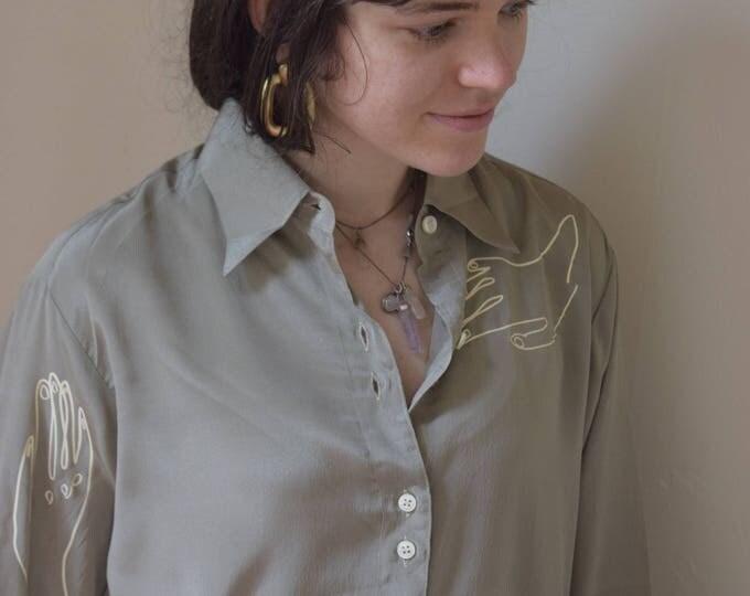 sage paloma long sleeve blouse.