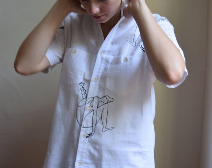 Mara B. Girl With Vase White Linen Shortsleeve.