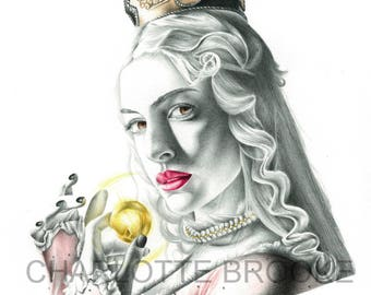 The White Queen: Alice in Wonderland Pencil Portrait Drawing Print
