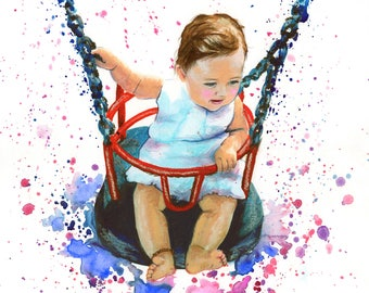 Baby Portrait, custom baby portrait handpainted from photo, handmade painting childrens portrait