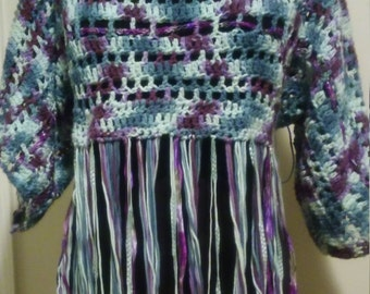 cotton crocheted pullover with fringe