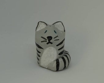 Small cat clay animal totem figurine
