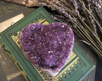 Amethyst Cluster Heart Shaped Crystal •  Raw Amethyst Heart Stone Druzy Crystal • Bohemian Gypsy Decor Valentines Day Gift for her