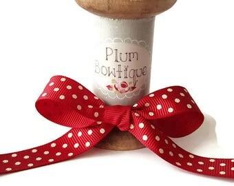 Deep Red with Ivory Polka Dot Print 16mm Grosgrain Ribbon *Sold Per Metre*