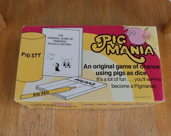 Vintage 1977 Pig Mania Game Pigs as Dice COMPLETE An Original Game of Chance David Moffat Enterprises 1970s Party Game Yahtzee Style