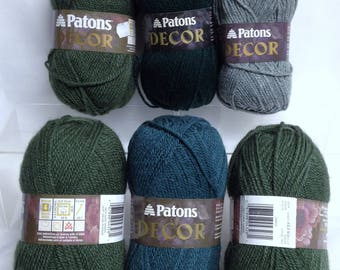 Patons Green Decor Yarn, Vintage Patons Yarn Wool Blend Yarn for Knitting or Finishing Discontinued Patons Yarn Projects One Skein Wonders