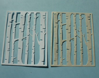 6 Birch Tree Card Stock Die Cut Quarter Fold A-2 Size   Tan or White Card Front