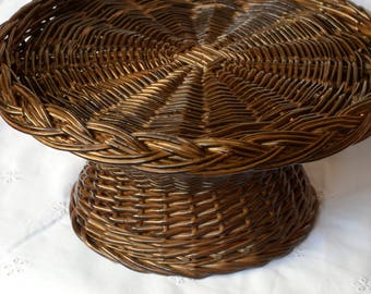 Wicker Cake Stand, Willow Cake Stand, Rustic Wedding Centerpiece, Wicker Cake Tray, Wicker Cake Platter, Rustic Wedding Cake Stand