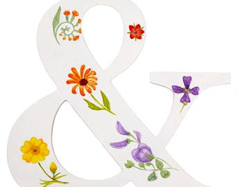 Hand painted wild flower ampersand