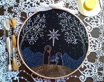 Embroidery kit  - embroidery hoop art - Nativity - Hand Embroidery - traditional embroidery kit. - embroidery kit beginner