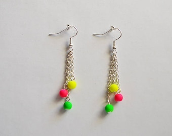 Neon earrings, neon color chain 925 Sterling Silver Earrings, acrylic rainbow bead on the chain, very light, bright, elegant