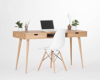 Mid-century computer desk with drawers and storage, made of oak wood
