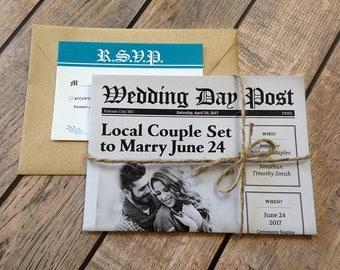 Printed Wedding Invitations Custom Newspaper Fun Unique Invitation Package Brunch Invites