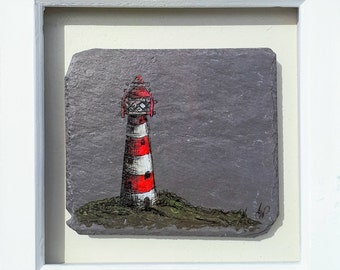 Lighthouse - Handpainted Reclaimed Slate Framed Picture