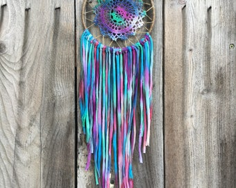 100% Recycled Handmade Tie-Dye Mermaid Dreamcatcher-1 tree is planted in a National Forest with every purchase